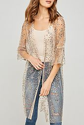 *PRE-ORDER* SEQUIN AND JEWEL EMBELLISHED SHEER CARDIGAN