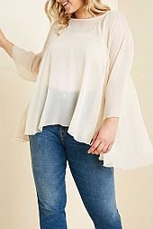 PLUS SOLID SHEER FLARING BLOUSE