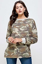 CAMO PRINT POLY COTTON ROUND NECK SWEATSHIRT