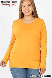 PLUS BRUSHED MICROFIBER LONG SLEEVE ROUND NECK TEE