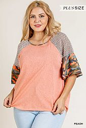 CAMOUFLAGE PRINT SLEEVE WAFFLE KNIT SHOULDER TOP