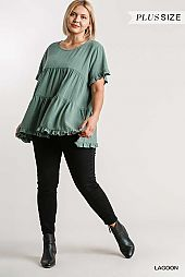 Round Neck Short Sleeve Tiered Top