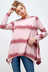 STRIPE TIE-DYE SHARK TAIL BODY LONG SLEEVE TOP