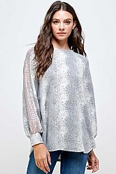 SNAKE PRINT FRENCH TERRY LONG SLEEVE TOP