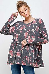 FLORAL PRINT BABY DOLL LONG SLEEVE TOP
