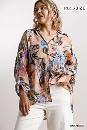 Floral Print Collared Button Down Round Hem Shirt