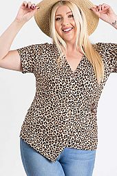 LEOPARD PRINT V NECK ASYMMETRICAL HEM TOP