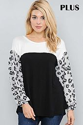 SOLID AND ANIMAL PRINT SLEEVE COLOR BLOCK TOP