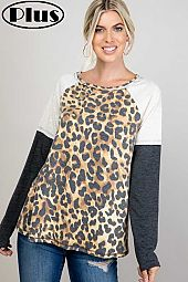 TERRY CHEETAH SOLID COLOR BLOCK RAW EDGE PLUS TOP