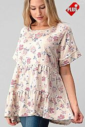 FLORAL TIER RUFFLE WIDE SLEEVE TOP PLUS