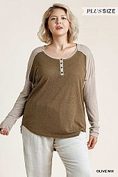 Button Front Round Neck Top