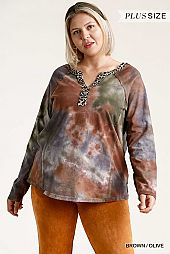 Tie Dye Animal Printed Trim and Half Button Front Top