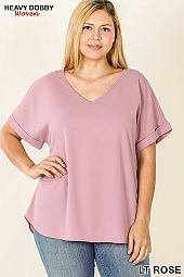 PLUS WOVEN HEAVY DOBBY ROLLED SLEEVE V-NECK TOP