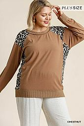 Brushed Animal Print Round Neck Raw Edged Detail Top