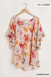 Sheer Floral Print Short Bell Sleeve Top