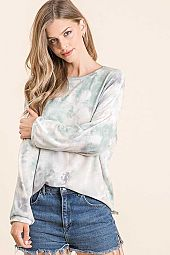 TIE DYE FRENCH TERRY ROUND NECK TOP