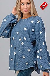 STAR PUFF SLEEVE LOOSE FIT TOP PLUS