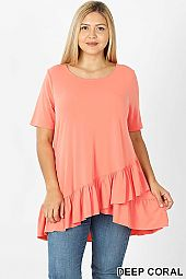 SOLID OVERLAP RUFFLE HEM ROUND NECK TOP