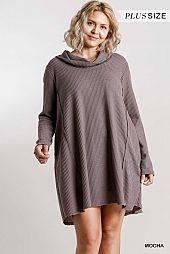 Waffle Knit Long Sleeve Turtleneck Dress