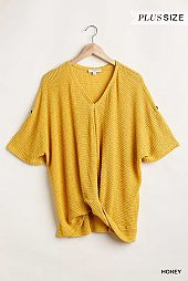 Light Thermal V Neck Knit Top