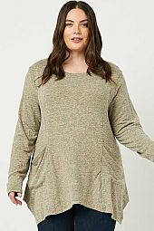 Plus Soft Knit Long Sleeve Pocket Front Top