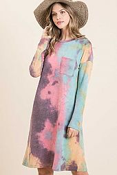 TIE DYE FRENCH TERRY MINI DRESS WITH FRONT POCKET