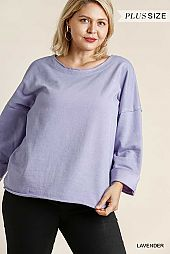 Mineral Washed French Terry Long Folded Sleeve Top