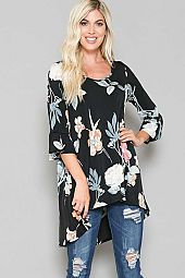 FLORAL PRINT ROUND NECK HI-LOW TUNIC