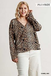 Animal Print Long Sleeve Wrap Front Top