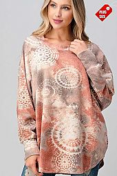 TIE DYE RAGLAN SLEEVE OVER SIZE TOP PLUS