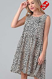 PLUS ANIMAL PRINT TIER RUFFLE DRESS