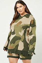 Plus Distressed Camo Hoodie