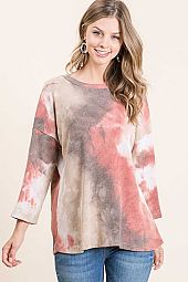 TIE DYE THERMAL ROUND NECK QUARTER SLEEVE TOP