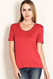 SOLID JERSEY KNIT SCOOP NECK TEE
