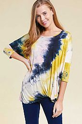 PLUS TIE DYE PRINT  TWIST HEM TOP