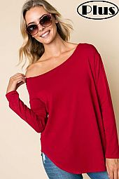 SOLID JERSEY ONE SHOULDER LONG SLEEVE PLUS TOP