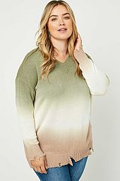 Plus Ombre Dye Distressed V Neck Sweater