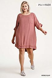Linen Blend Round Neck Half Sleeve Dress
