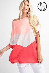 Plus Chevron Color Block Linen Top