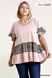 Round Neck Short Ruffle Sleeve Tiered Top