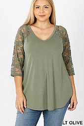 PLUS LACE DETAIL 3/4 SLEEVE V-NECK & ROUND HEM TOP