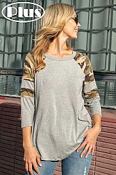 CAMOUFLAGE SOLID MIX ROUND NECK BASEBALL PLUS TOP
