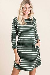 STRIPED POCKET ROUND NECK QUARTER SLEEVE DRESS