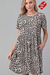 LEOPARD PRINT SHIRRED  DRESS PLUS
