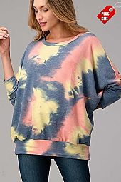 TIE DYE OVER SIZED BANDED TOP PLUS
