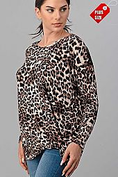 LEOPARD TWIST HEM LONG SLEEVE TOP PLUS