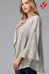 LEOPARD SHIRRED RUFFLE SLEEVE TOP PLUS