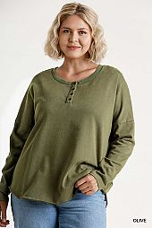 Mineral Washed French Terry Button Front Top