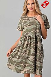 CAMO PRINT SHIRRED DRESS WITH POCKETS PLUS