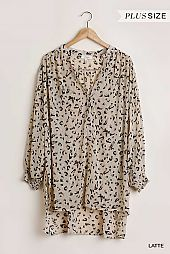Sheer Animal Print Long Puff Sleeve Dress